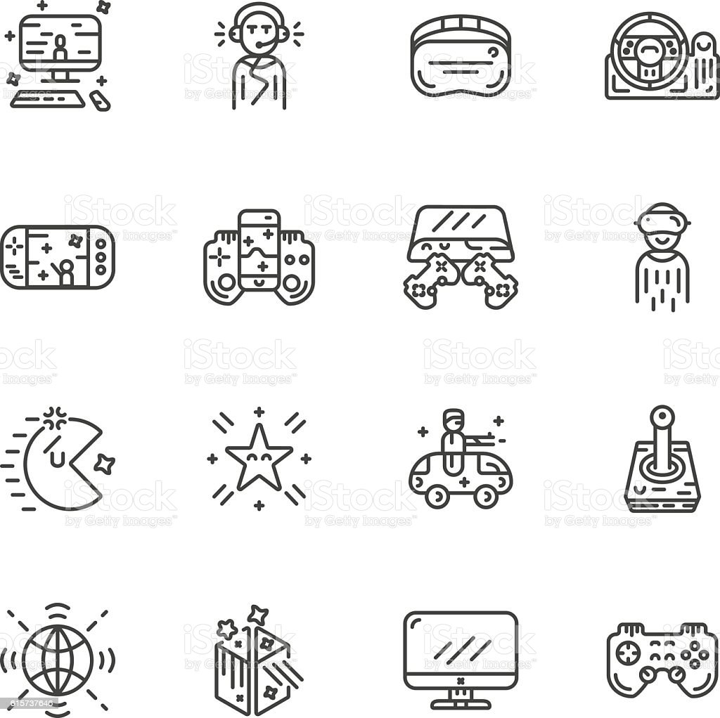 video game controller or gamepad line art icon for apps vector art illustration