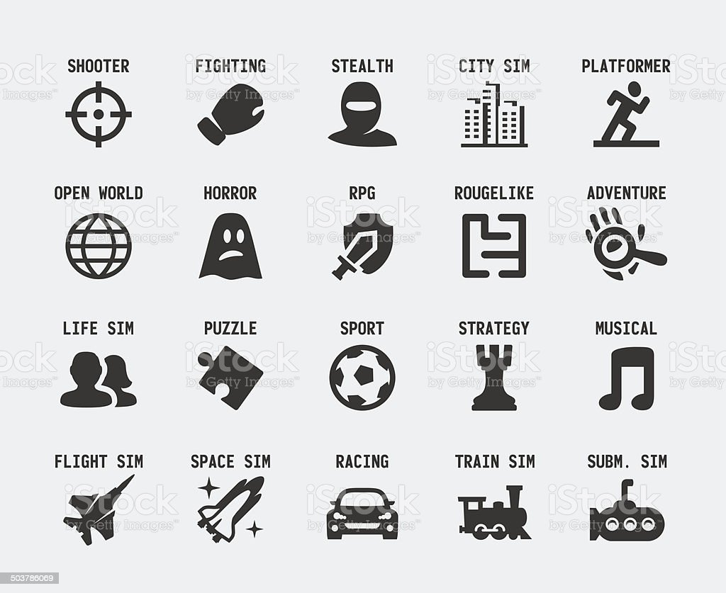 Video game genres vector icons set vector art illustration