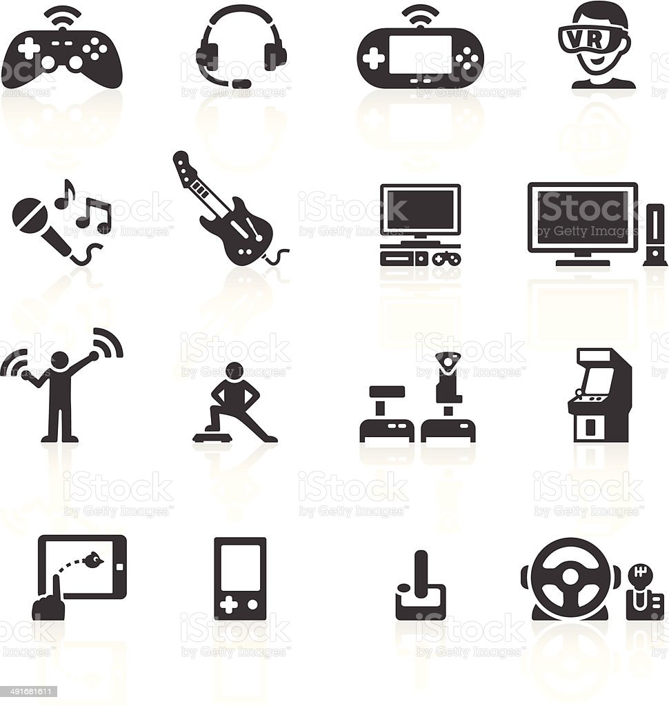 Video Game Hardware Icons vector art illustration