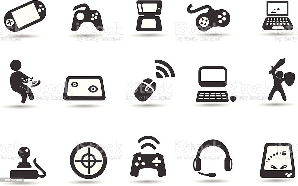 Video Game Icon Set vector art illustration
