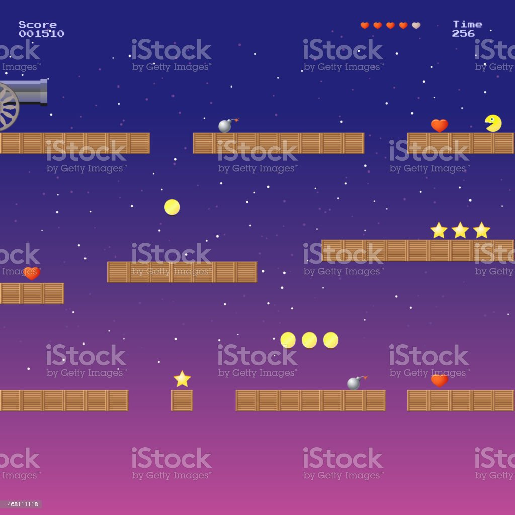 Video game location, arcade games vector art illustration