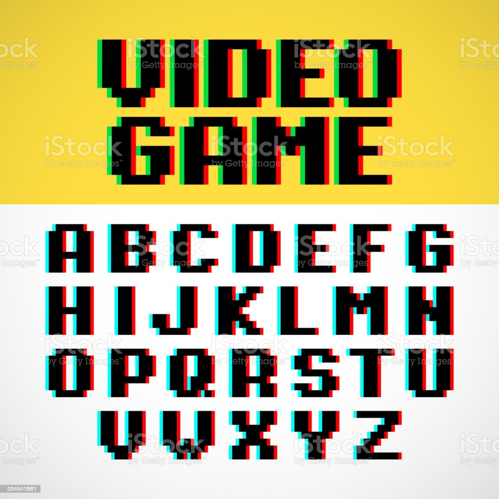 Video game pixel font with distortion vector art illustration