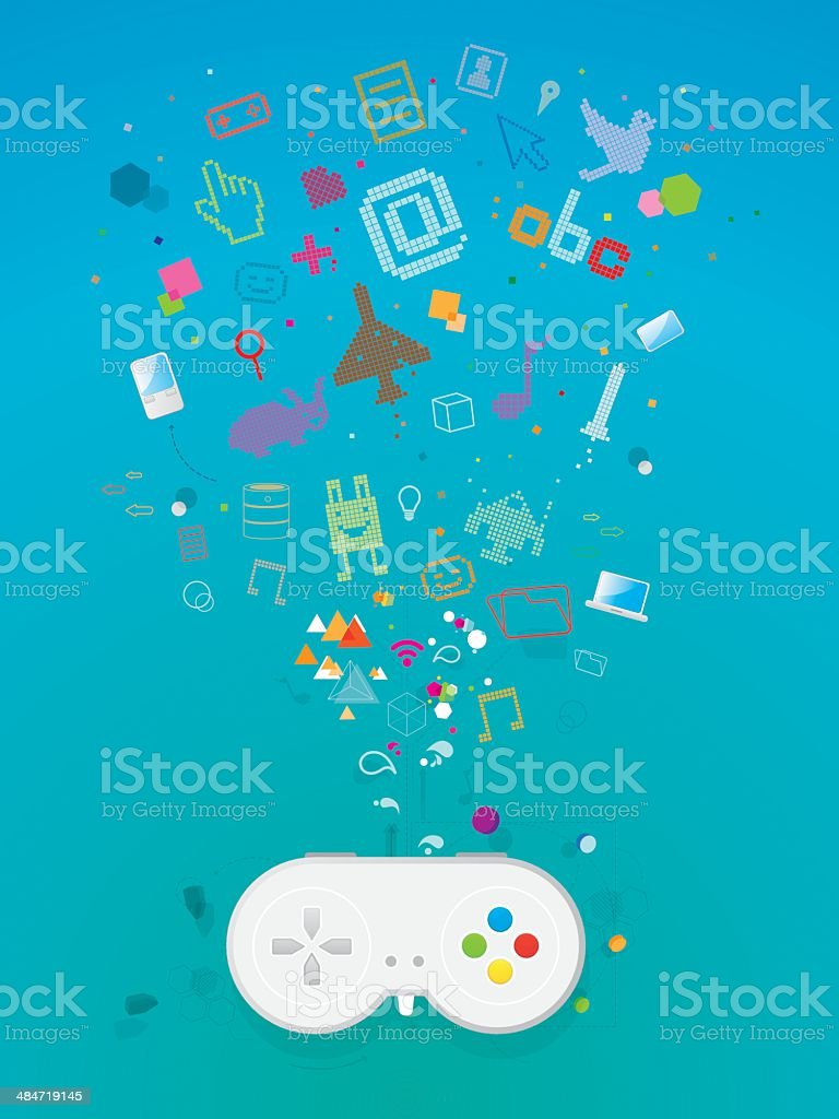 Video game world royalty-free stock vector art