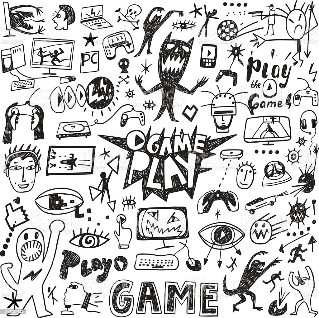 Video games doodles vector art illustration