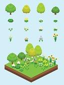 Video Game-Type Isometric Grassland Set