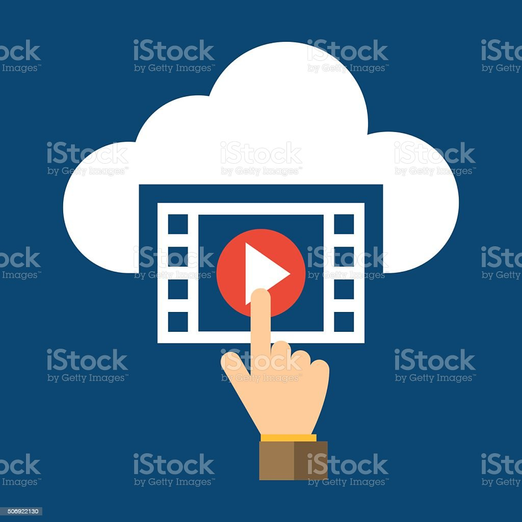 Video, Hand And Cloud Flat Design Icon - VECTOR vector art illustration
