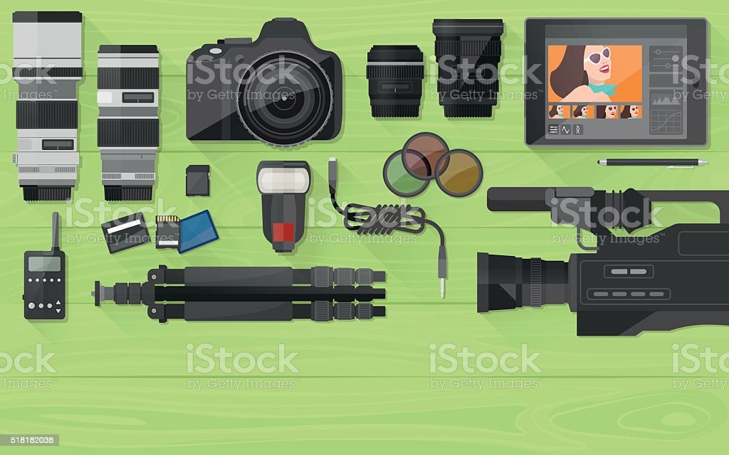 Video making and photography vector art illustration