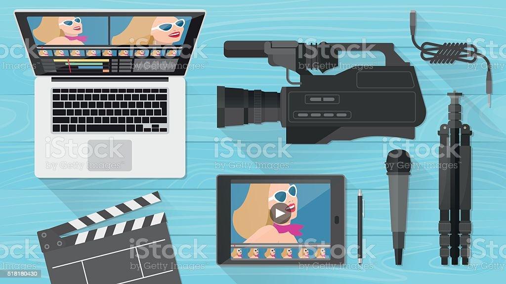 Video making banner vector art illustration
