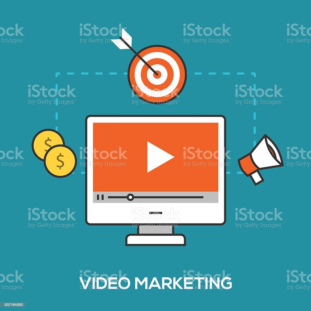 Video marketing concept vector art illustration