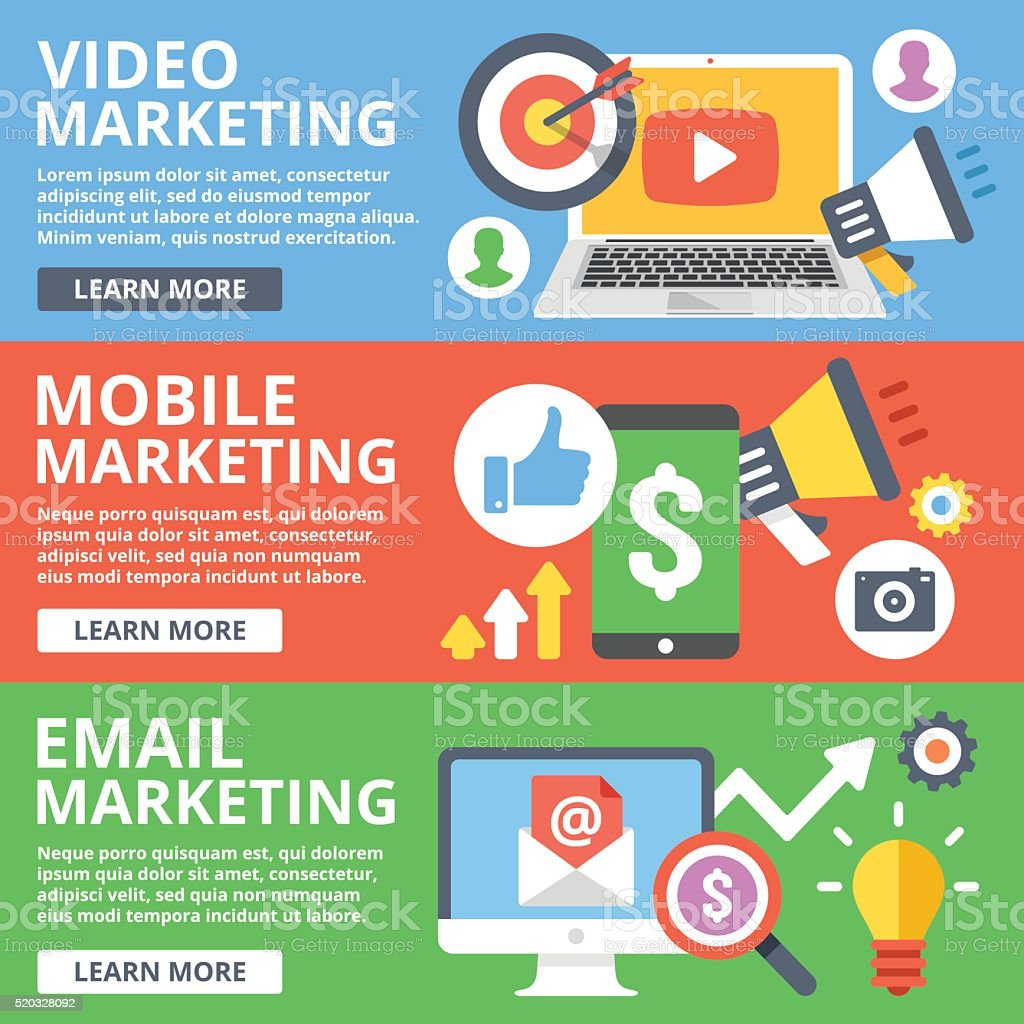Video marketing, mobile marketing, email marketing flat illustration set vector art illustration