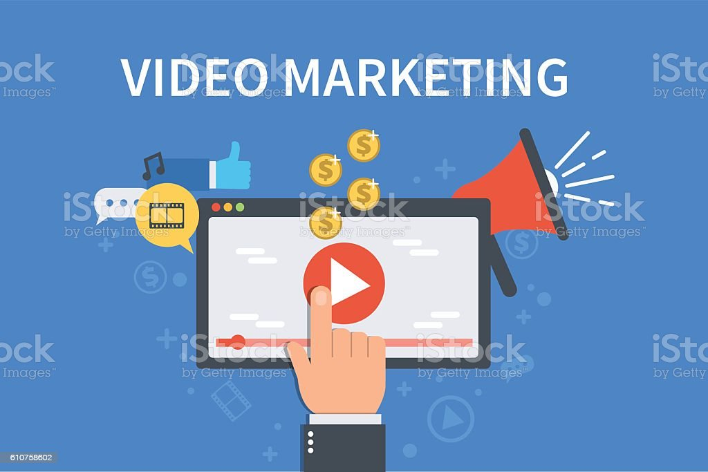 Video marketing vector art illustration