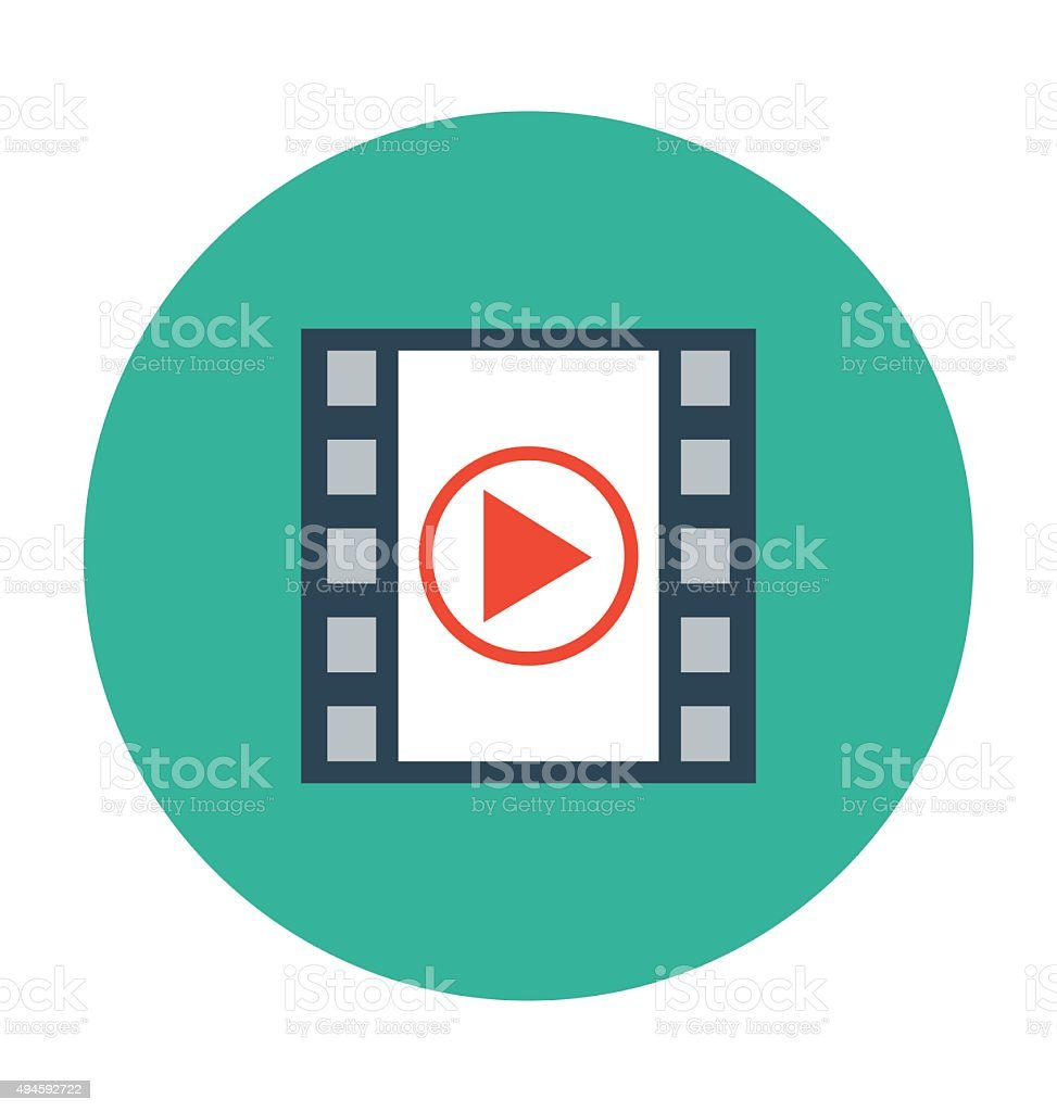 Video Player Colored Vector Icon vector art illustration