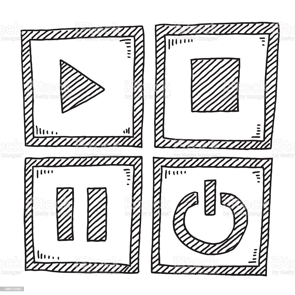 Video Player Elements Drawing vector art illustration
