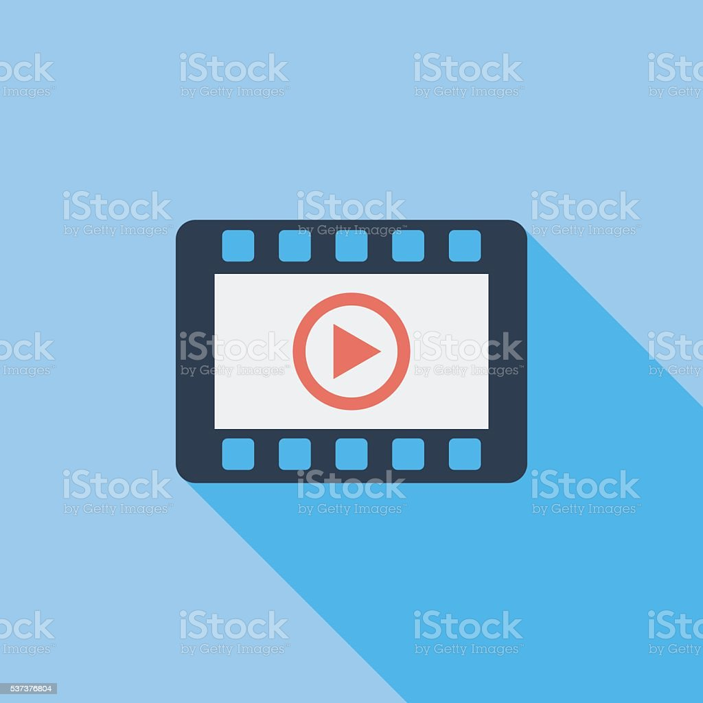 Video player flat icon. vector art illustration
