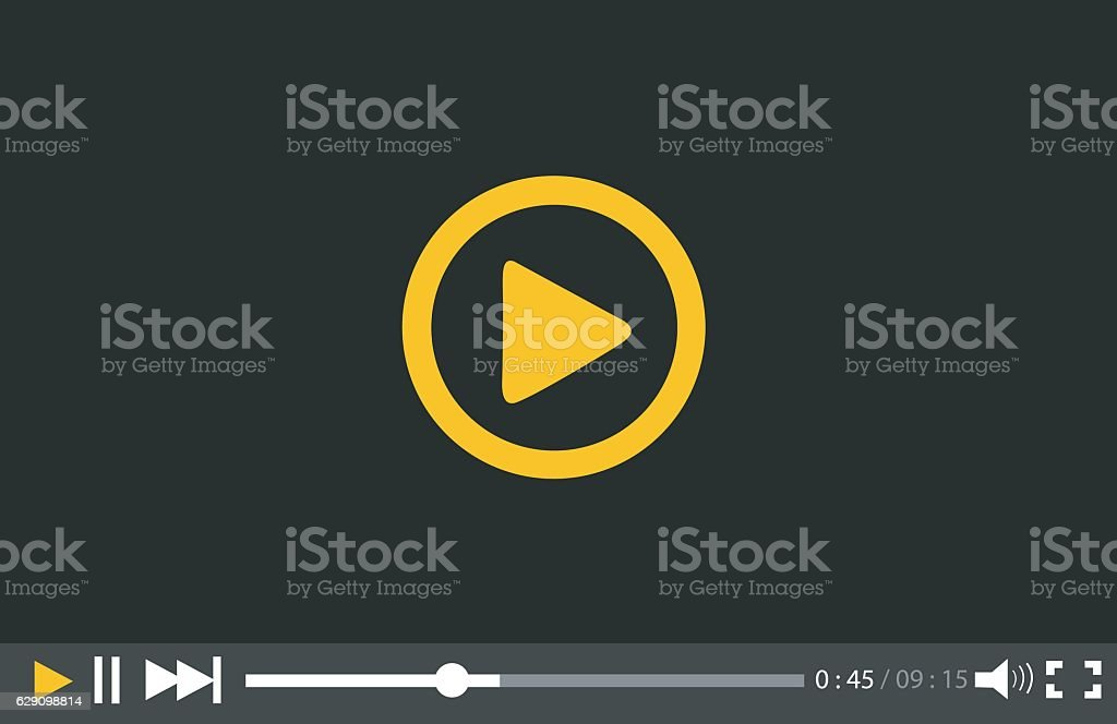 Video Player for web and mobile apps vector art illustration