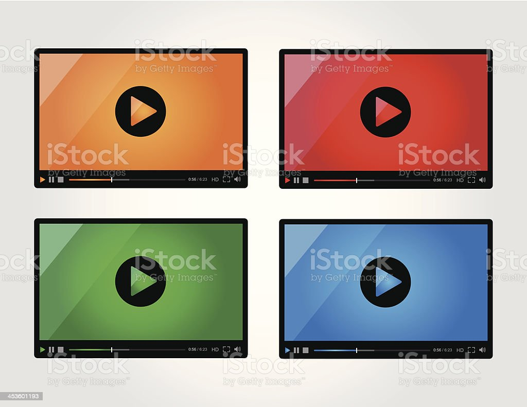 Video player for web in different colors royalty-free stock vector art