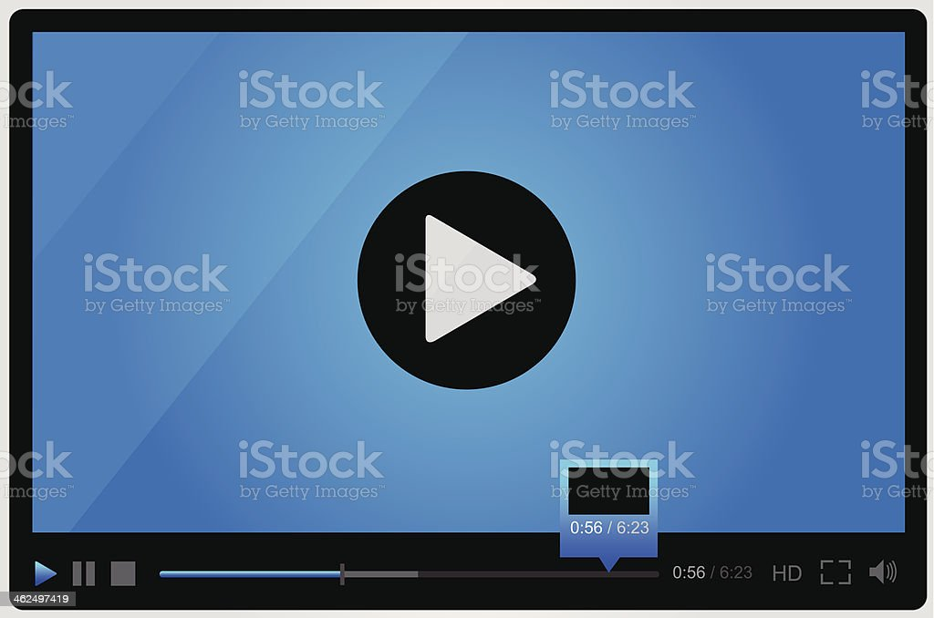 Video player for web, minimalistic design vector art illustration