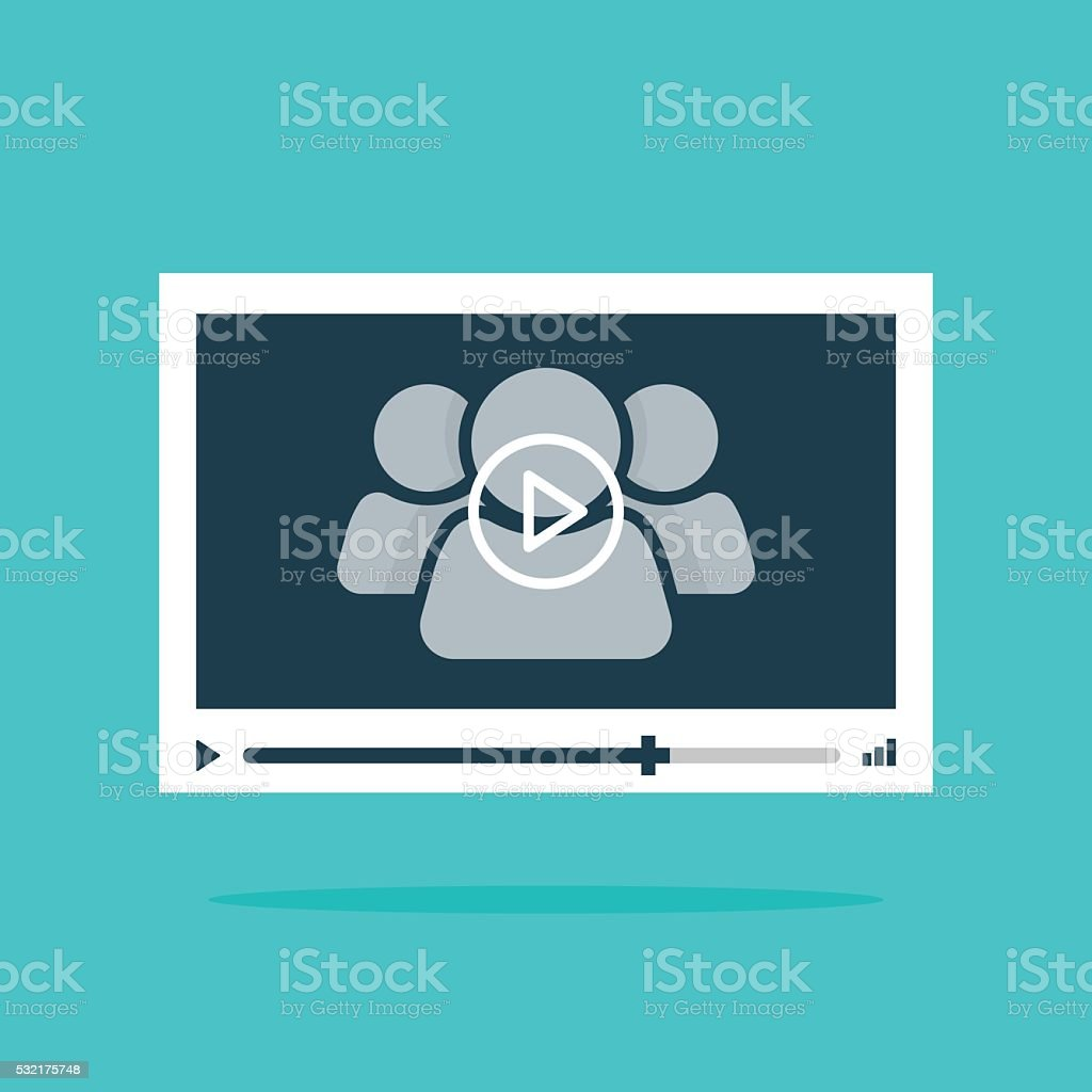 Video player interface abstract 3 persons, play button vector illustration vector art illustration
