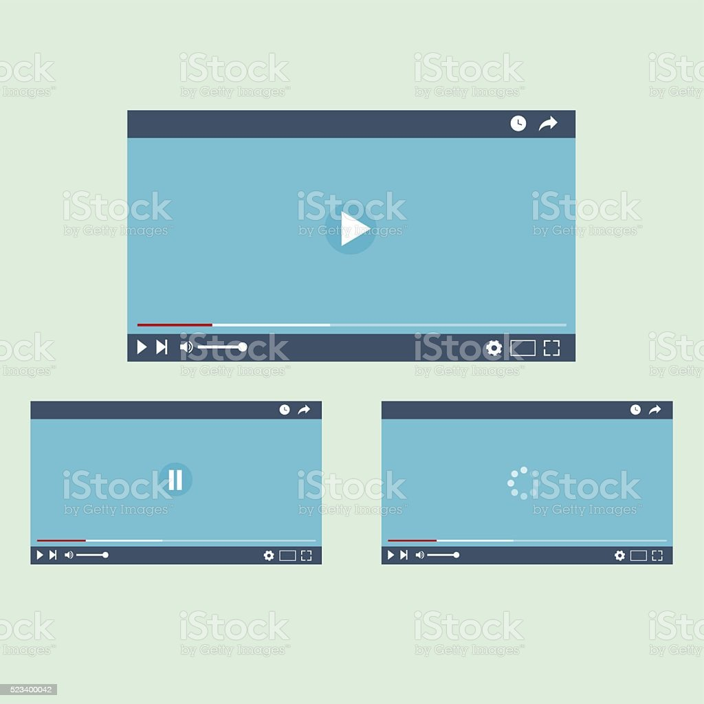 video player interface, vector lillustration, flat design vector art illustration