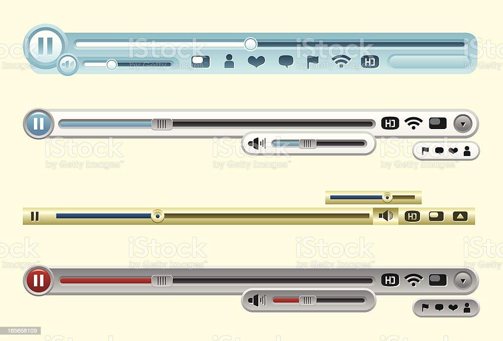 Video player interfaces vector art illustration