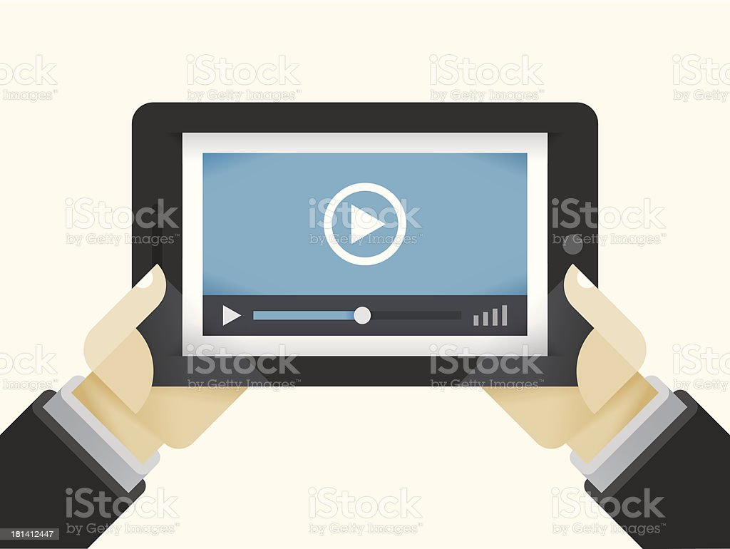 Video player on Tablet Computer in internet user hands royalty-free stock vector art