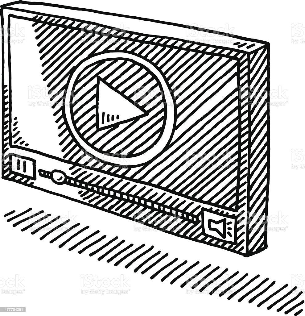 Video Player Symbol Drawing vector art illustration