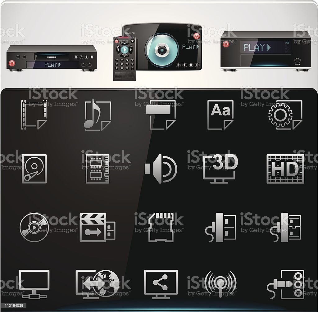 Video players features and specifications icons royalty-free stock vector art