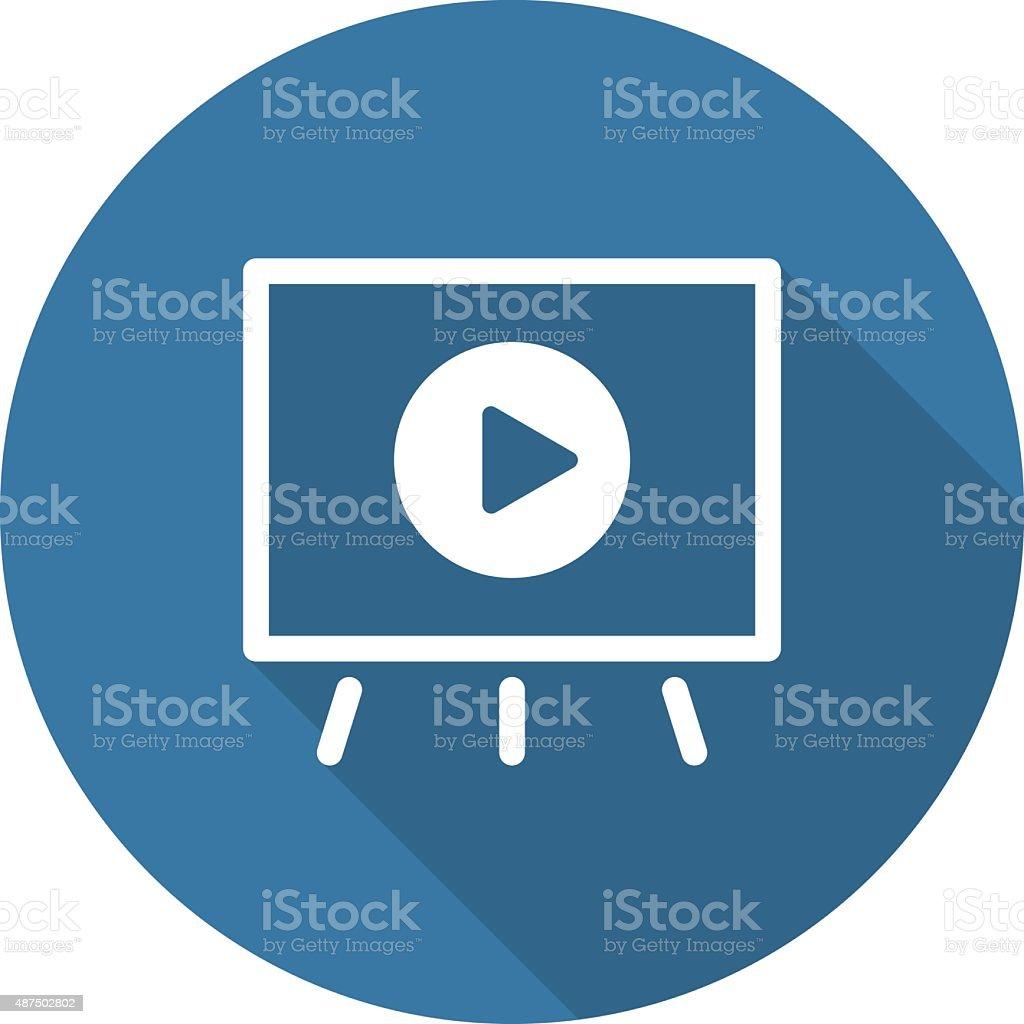 Video Presentation Icon. Business Concept. Flat Design. Long Sha vector art illustration