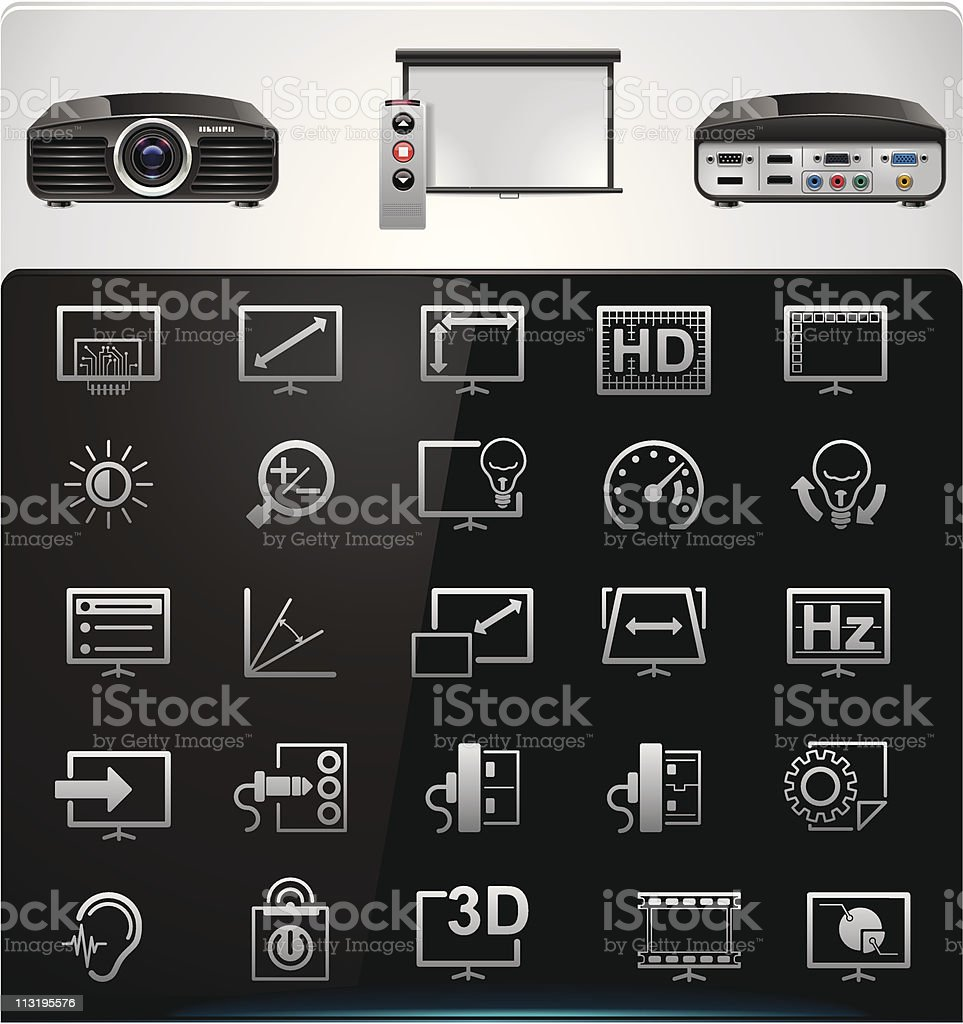 Video projector features and specifications icons vector art illustration