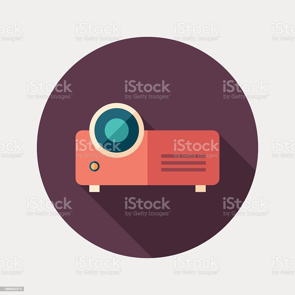 Video projector flat round icon with long shadows. vector art illustration