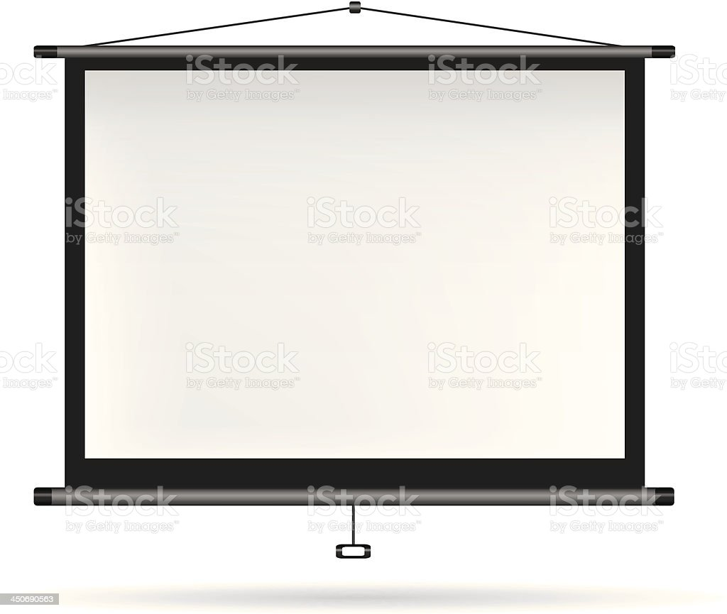 Video projector on white wall vector art illustration