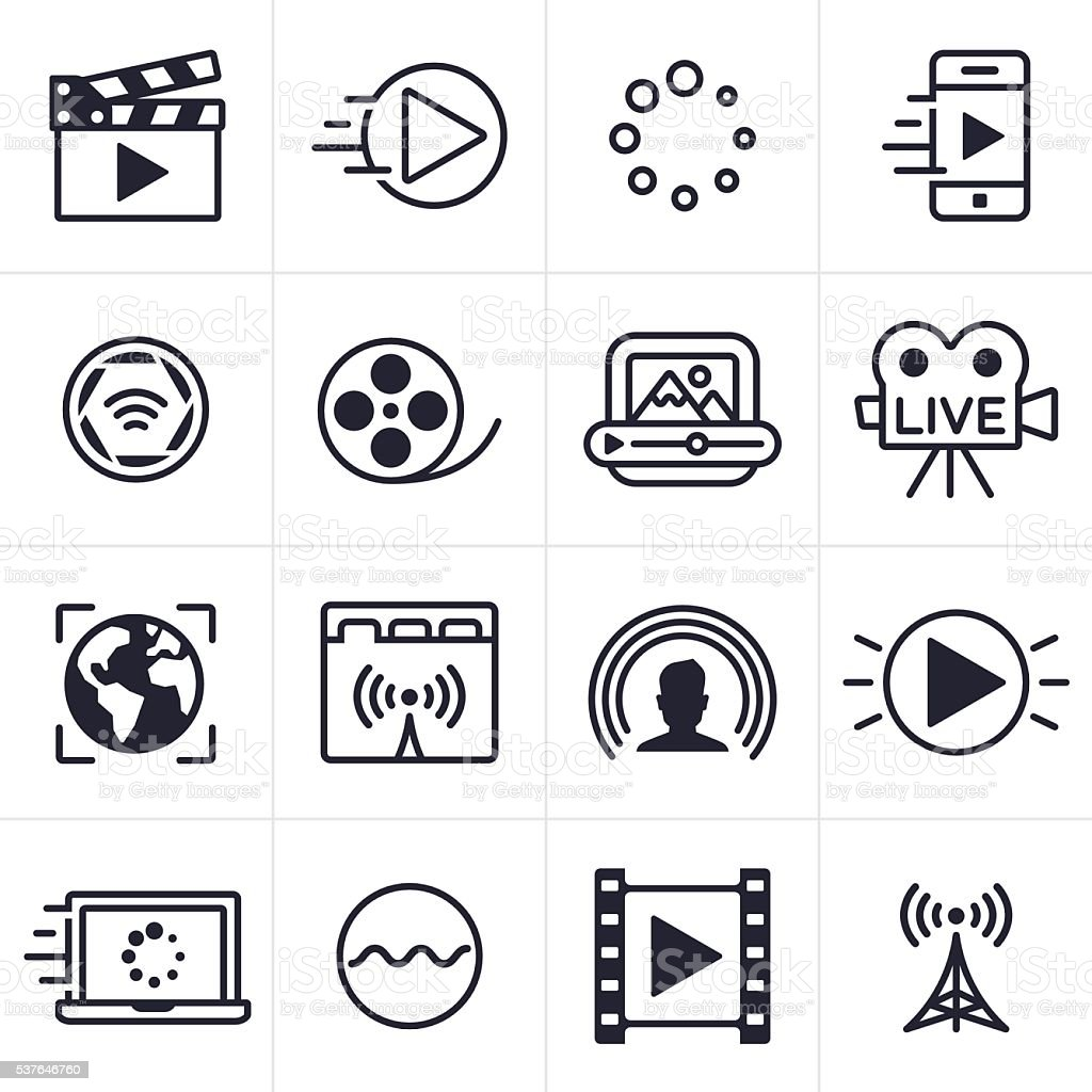 Video Streaming Icons and Symbols vector art illustration