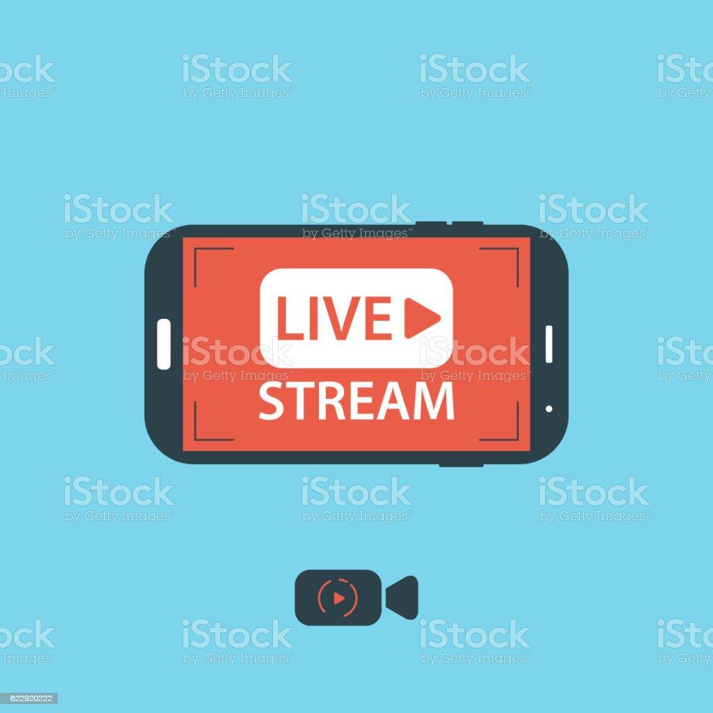 Video streaming on mobile phone.Vector illustration vector art illustration
