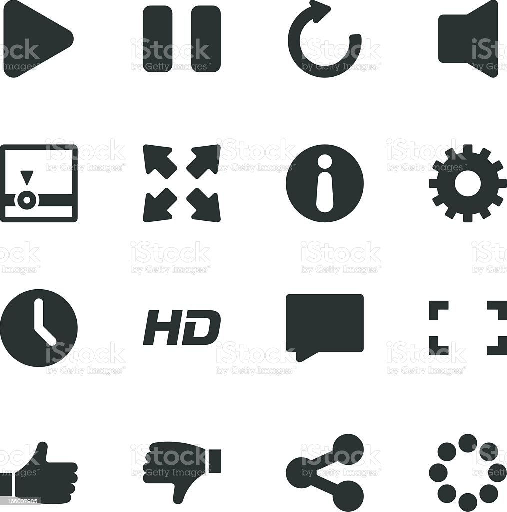 Video Streaming Player Silhouette Icons vector art illustration
