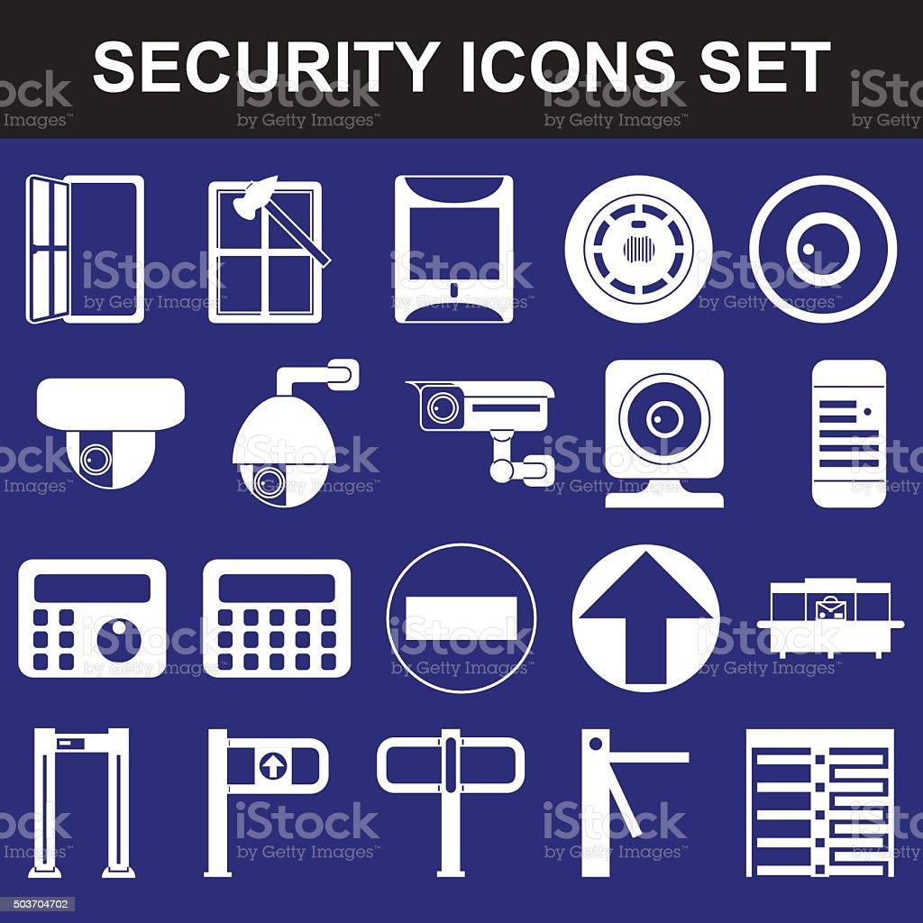 Video surveillance metal and alarm detectors turnstiles vector art illustration