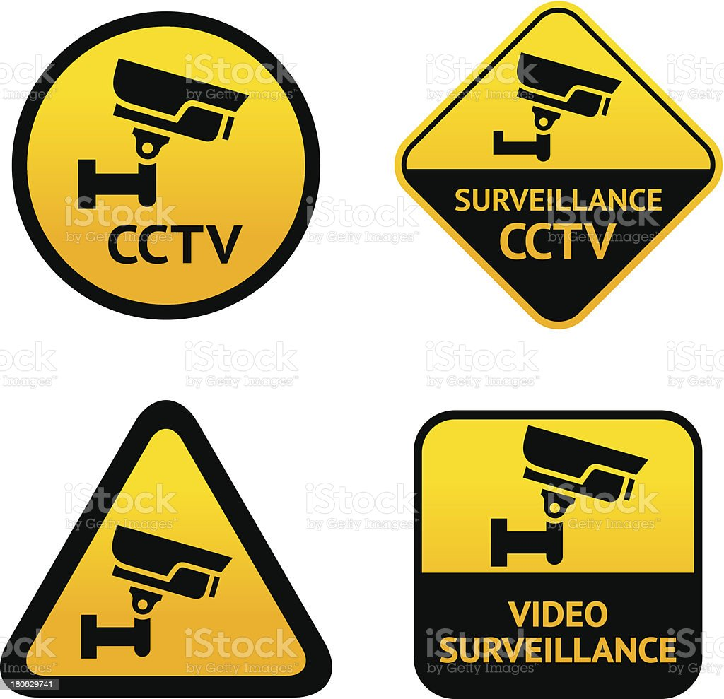 Video surveillance, set labels royalty-free stock vector art
