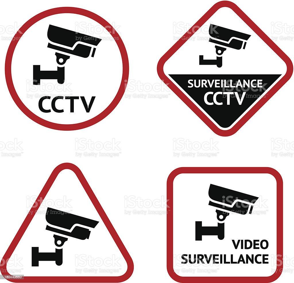 Video surveillance, set sticky labels royalty-free stock vector art