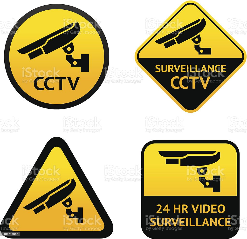 Video surveillance, set symbols royalty-free stock vector art
