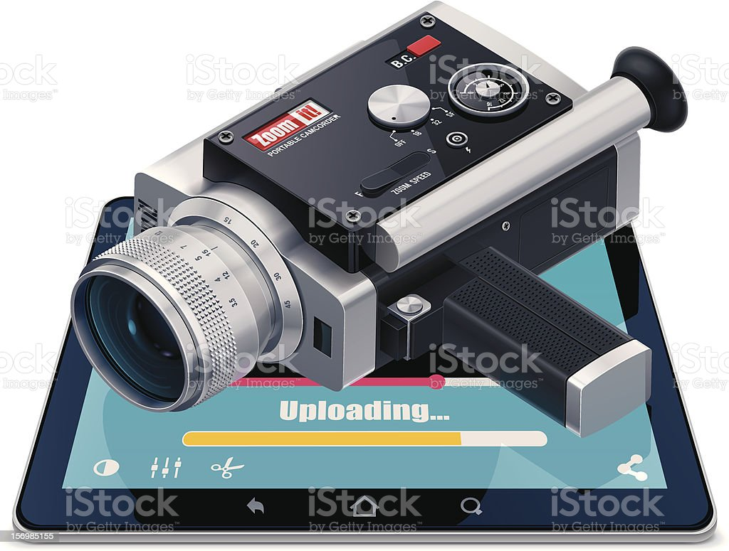 Video uploading icon royalty-free stock vector art