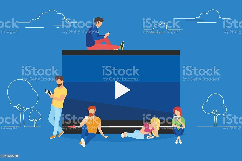 Video watching concept illustration vector art illustration