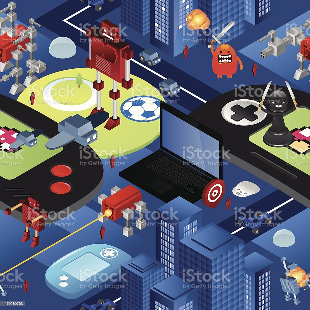 Videogame seamless texture vector art illustration