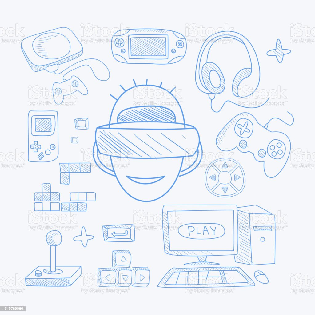 Vidoe Game Related Objects Set With The Gamer vector art illustration