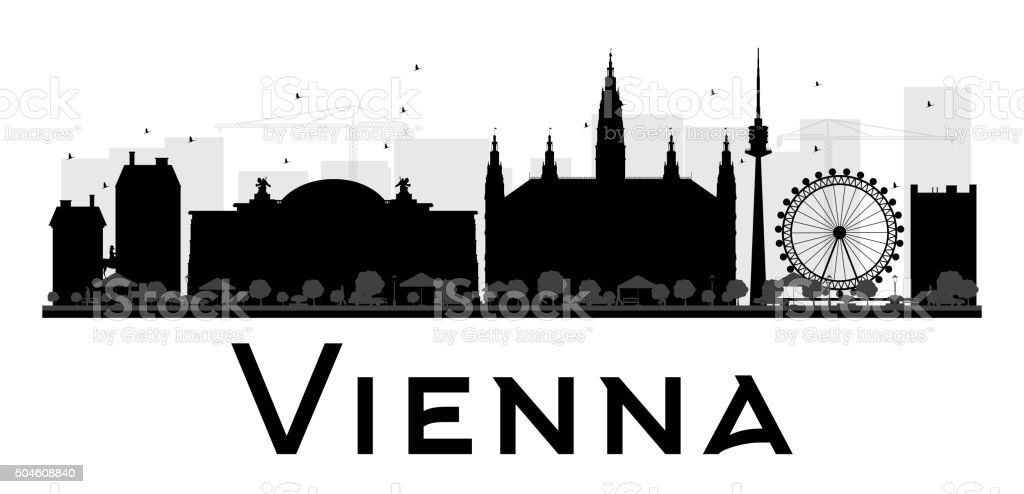 Vienna City skyline black and white silhouette. vector art illustration