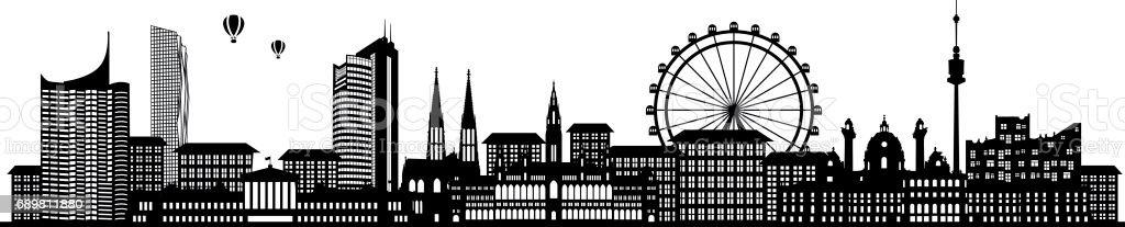 vienna skyline silhouette vector art illustration
