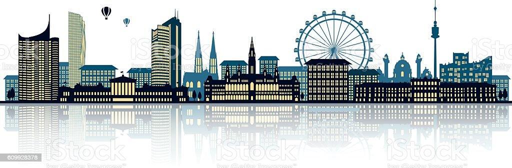 vienna skyline vector art illustration