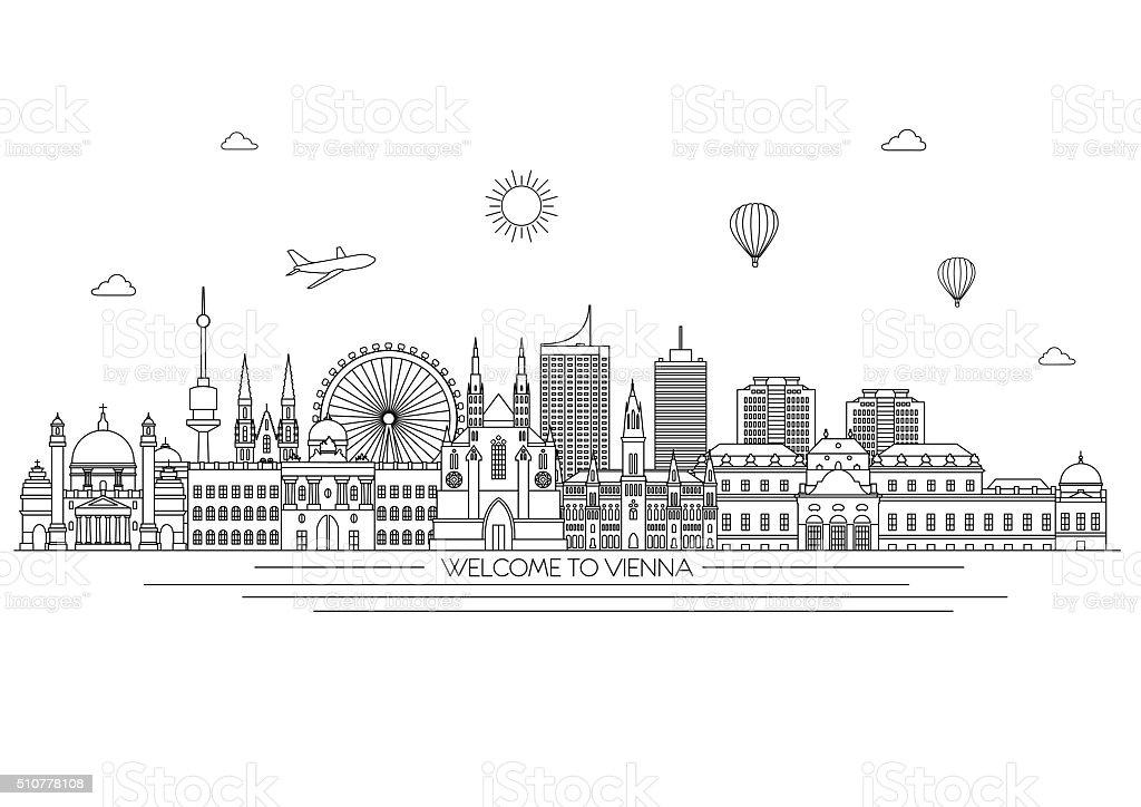 Vienna skyline. Vector line illustration. Line style design vector art illustration