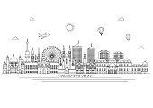 Vienna skyline. Vector line illustration. Line style design