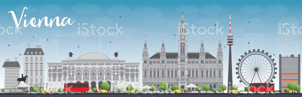 Vienna Skyline with Gray Buildings and Blue Sky. vector art illustration
