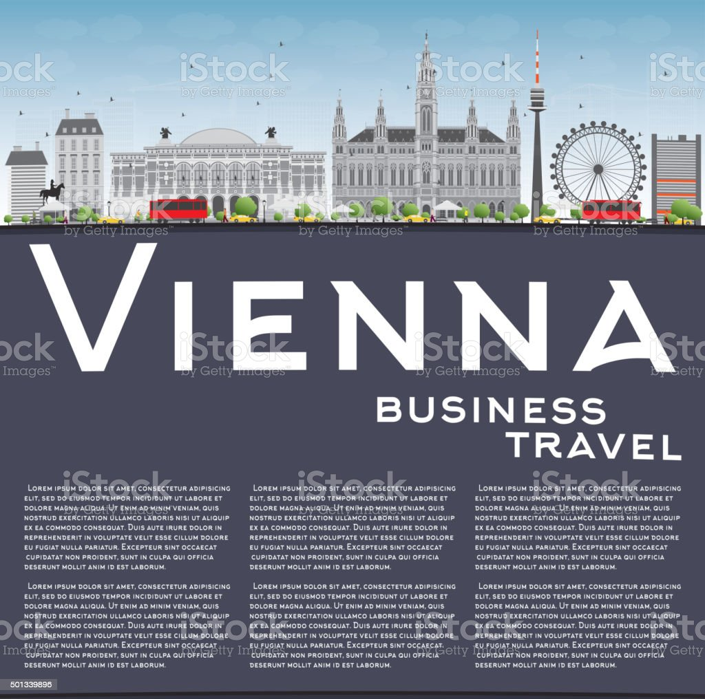 Vienna Skyline with Gray Buildings, Blue Sky and Copy Space. vector art illustration