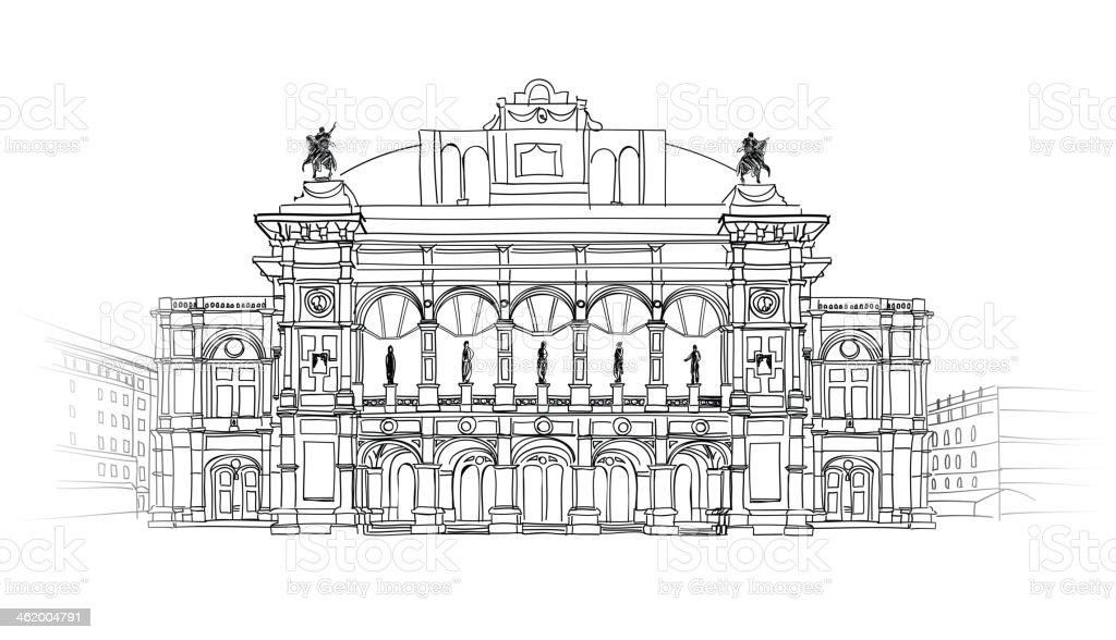 Vienna State Opera House, Austria. vector art illustration